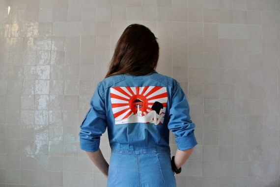 "Blue Coverall in jean ""Japanese girl"""