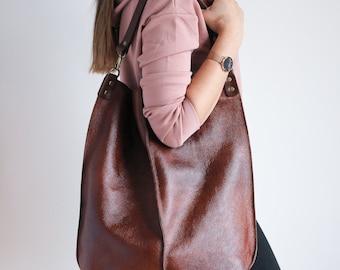 BROWN Leather HOBO Bag, Large Shopper Bag - Oversized Brown Purse - COGNAC Brown Leather Handbag - Large Everyday bag for women Ea