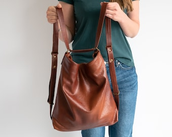 Cognac Brown CONVERTIBLE Backpack, Leather BACKPACK PURSE, Shoulder Bag, Crossbody Leather Handbag, School Bag, Distressed Leather Bag Oa