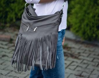 Gray Leather Fringe Hobo Bag, Fringe Bag, Bag with Tassels, Large Cross Body Bag, Leather Handbag, Purse, Large Leather Hobo Bag Boho Jh