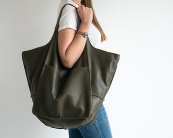 DARK Olive Green LEATHER TOTE Bag, Slouchy Tote, Dark Green Handbag for Women, Weekender Oversized Bag, Every Day Bag, Women leather bag Am