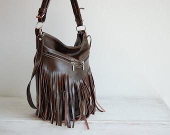 Leather Fringe Hobo Bag, DARK BROWN Fringe Bag, Bag with Tassels, Large Cross Body Bag, Leather Handbag, Purse, Large Tote, Leather Hobo Jf