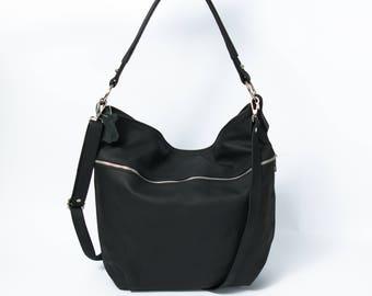 Leather HOBO Bag, Crossbody Bag, Everyday Shoulder Bag, Leather Handbag, Boho Bag, Handmade, Large Hobo, Leather Tote, Black Leather Bag