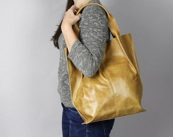 Leather Tote Bag, Leather Shopper Bag, Large Handbag, Large Tote Bag, Mustard Shoulder Bag, Leather Tote, Antique Yellow Leather Tote Pe