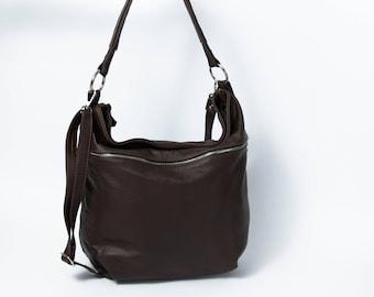 Leather HOBO Bag, Crossbody Bag, Everyday Shoulder Bag, Leather Handbag, Boho Bag, Handmade, Large Hobo, Leather Tote, Brown Leather Bag
