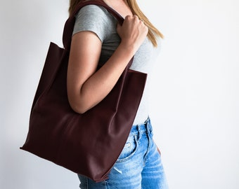 Leather Shopper Bag, Leather Tote Bag, Large Handbag, Large Tote Bag,  Shoulder Bag, Handmade Tote, Burgundy Leather Px