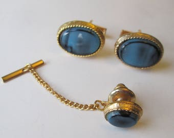 Mens Cufflinks Tie Tack Jewelry Set Vintage 1960s Blue Art Glass Cabochons