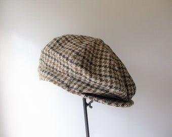 56f295c6346 Houndstooth Newsboy Cap Vintage 1970s London England Failsworth Mens Wool  Hat