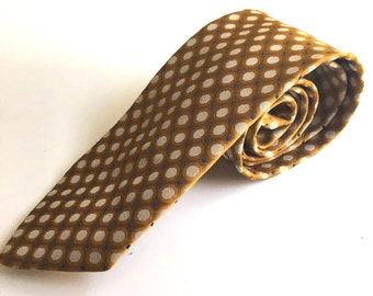 Mens Tie Necktie Vintage 1960s Gold Polka Dot Penneys Towncraft