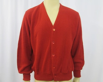 Mens Cardigan Sweater Vintage 1970s Lord Jeff Burnt Orange Acrylic