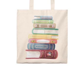 Book Lover Books Stack Reader Library Bag Canvas Tote Bag