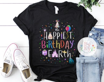 The Happiest Birthday On Earth Place Happy Celebration Short Sleeve Unisex T Shirt