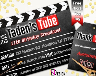 Youtube Invitation Birthday Theme Party Thank You Tag Invites Clapperboard