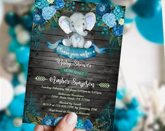 EDITABLE  Elephant Baby Shower Invitation boy, Safari Invitation, wooden Elephant watercolor invitation, Little peanut invitation, template