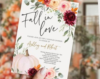 SELF EDITABLE Fall in Love Bridal Shower Invitation, Couples Shower, floral, Engagement, Autumn, pumpkin, wedding, digital, INSTANT Download