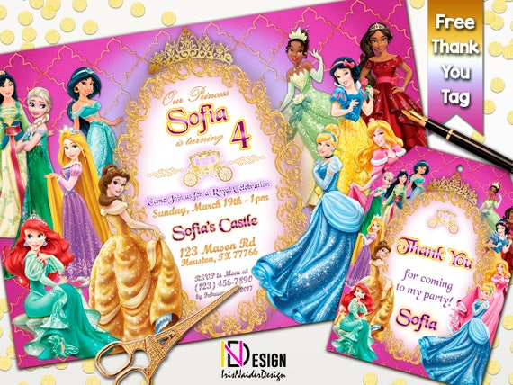 Princess Disney Invitation FREE Thank You Tag Birthday Invites Digital Files