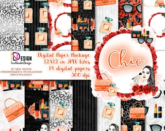 Sale 10% OFF Chic Fashion paper, Beauty paper, Fashion Blog Theme, Makeup paper pack, Watercolor Fashion paper, Fashion background, beauty