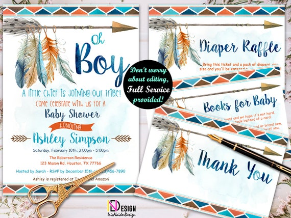 Tribal Baby Shower Invitation Boy Aztec Baby Shower Invitation