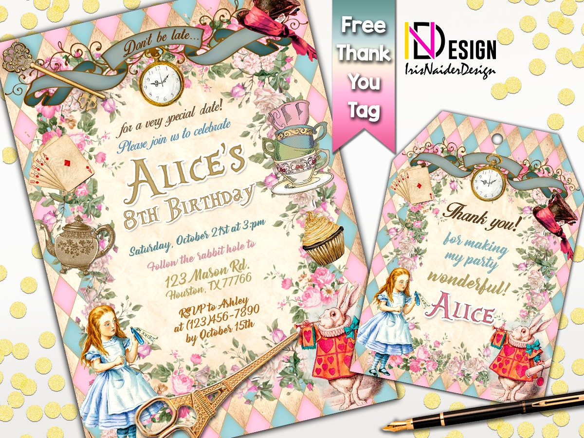 Alice in Wonderland Birthday Invitation Alice in wonderland | Etsy