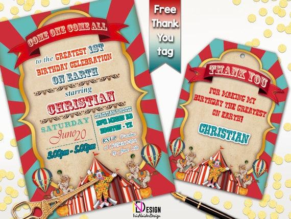 Circus Birthday Invitation Carnival Vintage InvitationVintage BoyCircus Invites