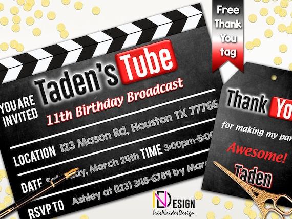 Youtube Invitation Birthday Theme