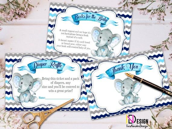 Elephant Baby Shower Invitation Boy Safari Set