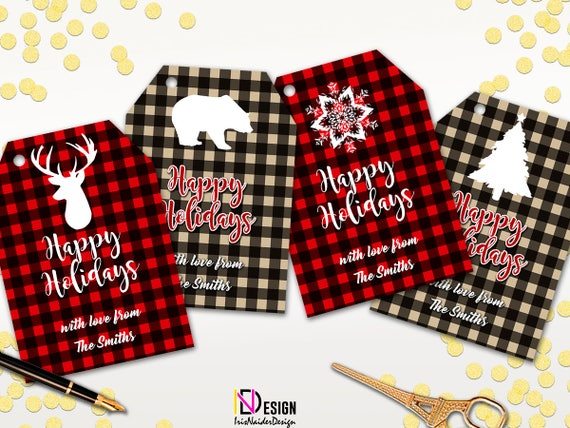 Christmas Gift Tags Printable Personalized Happy Holidays Gift Tag