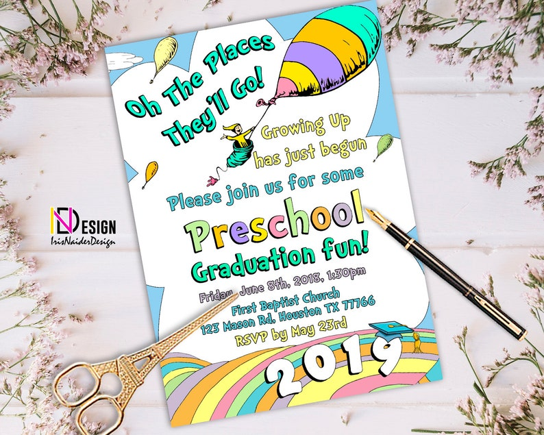 Oh The Places Youll Go Graduation Invitation VPK Kindergarten Pre K Preschool Elementary Neutral Girl Boy