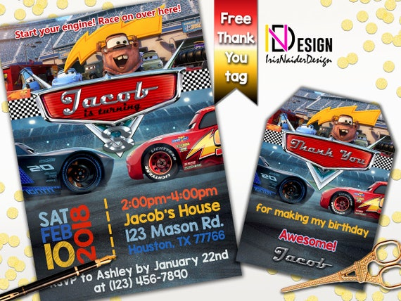 Cars 3 Invitation Birthday