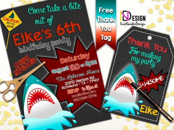 Shark Invitation And FREE Thank You Tag Shark Thank You Card Shark