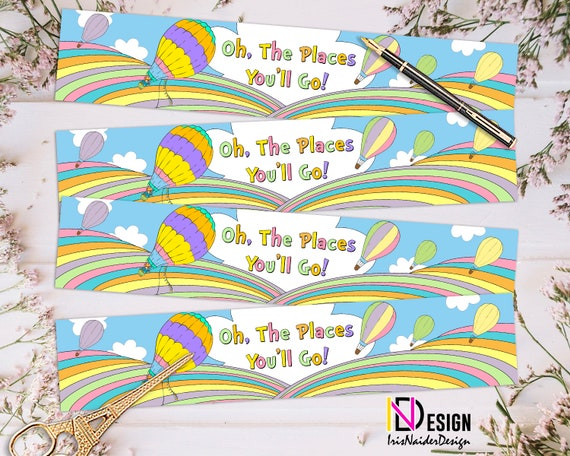 photo relating to Oh the Places You'll Go Printable Template known as Rainbow h2o bottle label, child shower decor, birthday