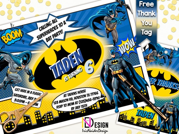 picture relating to Batman Birthday Invitations Printable Free titled Batman invitation No cost thank your self tag, Batman Birthday