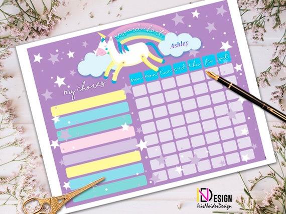 unicorn chore chart  unicorn reward chart  weekly chart