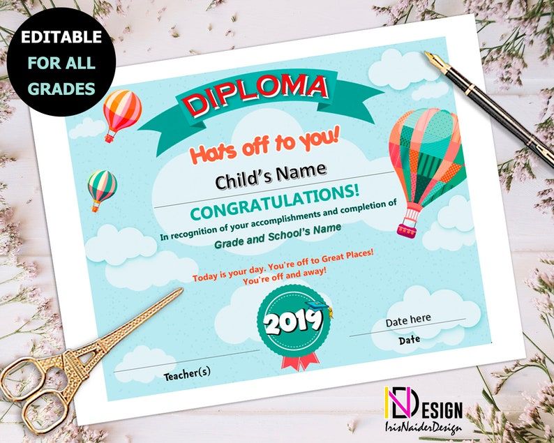 Diploma, Oh the places you'll go inspired Certificate, kindergarten, pre-k,  1st grade, Graduation, 2nd grade, 3rd grade, 4th grade,5th grade