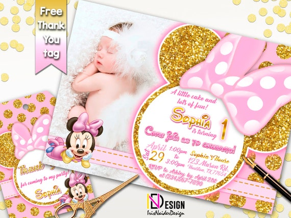 Minnie Mouse Invitation FREE Tag Birthday