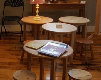 Solid hardwood round end table