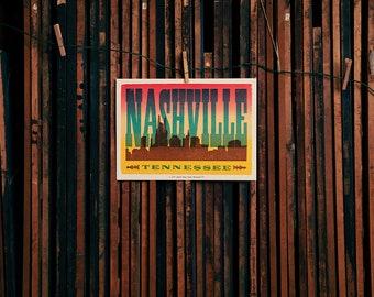 Nashville Sunset Skyline Poster