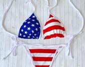 American Flag Stars and Stripes String Bikini