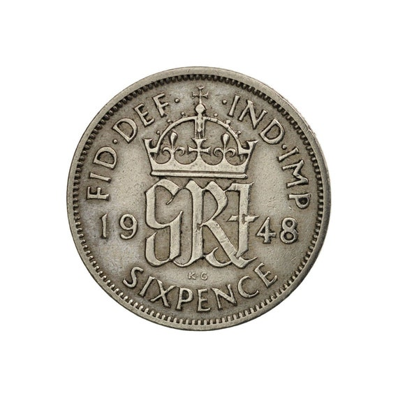 Great Britain 6 pence sixpence 1948  1951 George VI Wedding gift .