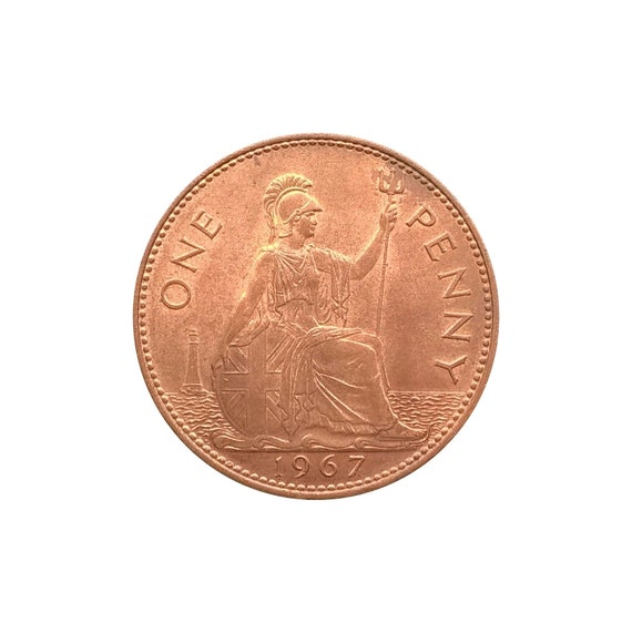 1967 One Penny Coin Great Britain From Queen Elizabeth II , Perfect for  Birthdays ,Anniversary or Craft and Jewellery