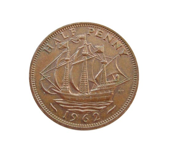 1962 Half Penny Coin With Ship (Golden Hind), Queen Elizabeth 2nd from the  United kingdom, Perfect for Birthdays ,Anniversary and Jewellery