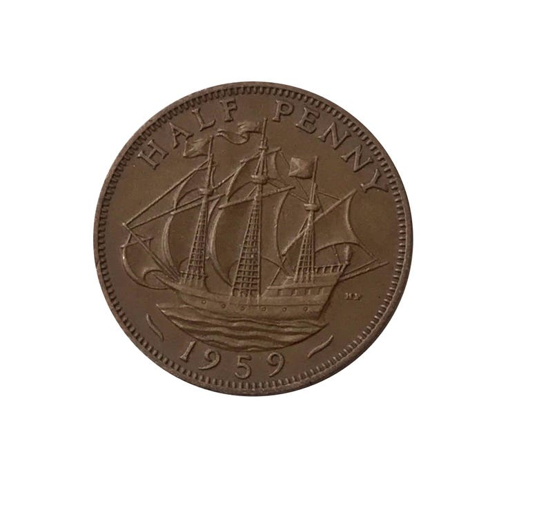 1959 Half Penny Coin With Ship Anniversary and Jewellery Golden Hind Perfect for Birthdays Queen Elizabeth 2nd from the United kingdom