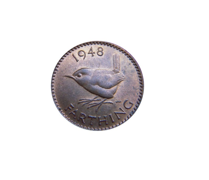 1948 farthing Coin With a Wren from the United kingdom image 0