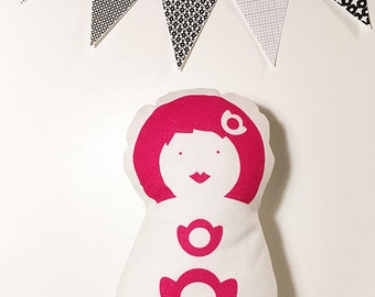 Doudou Midinette de La Modette, poupée de chiffon - rose
