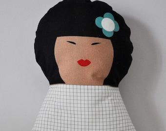Soft doll cushion - Yoko - for kids bedroom
