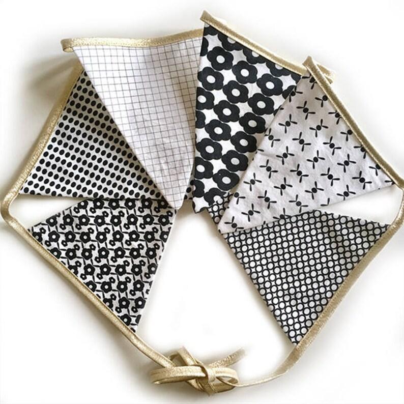 Garland of 6 fabric pennants  exclusive designs La Modette  image 0