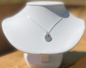 """I 'heart' Swimming - charm necklace on 16"""" sterling silver chain."""