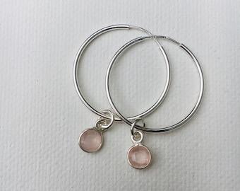 Deco Silver Hoop Earrings with Gemstones