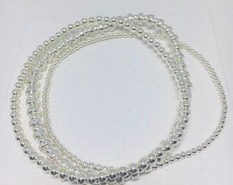 Trio bracelets- sterling silver beads