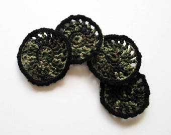 Coasters Crocheted Coasters Camouflage Colors